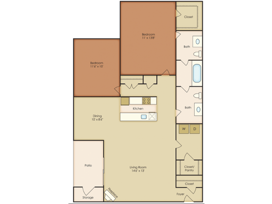 2 Bedrooms 1 Bathroom Apartment for rent at Amber Oaks Apartments in Durham, NC