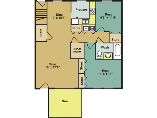 2 Bedrooms 1 Bathroom Apartment for rent at Woodland Creek Apartments in Durham, NC