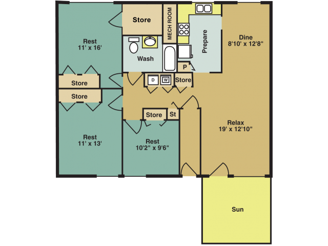 3 Bedrooms 1 Bathroom Apartment for rent at Woodland Creek Apartments in Durham, NC