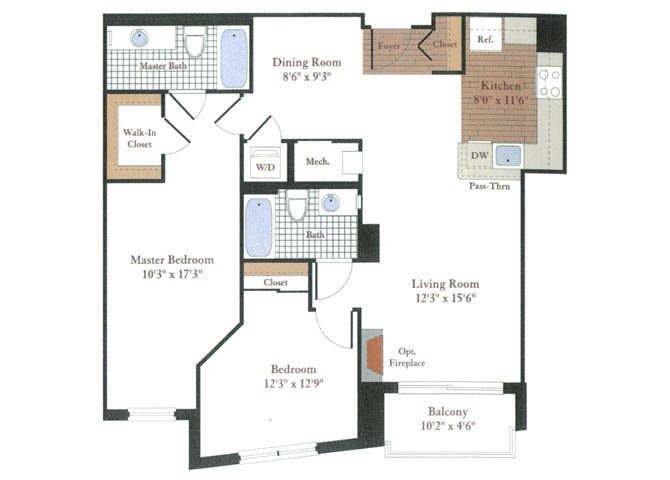 2 Bedrooms 2 Bathrooms Apartment for rent at Rosedale Park Apartments in Bethesda, MD
