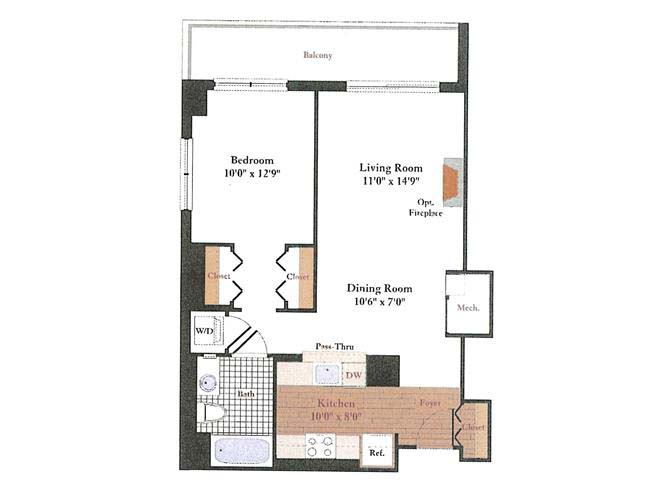 1 Bedroom 1 Bathroom Apartment for rent at Rosedale Park Apartments in Bethesda, MD