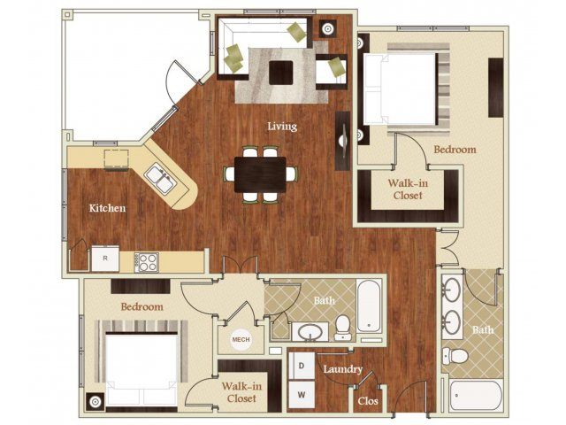 2 Bedrooms 2 Bathrooms Apartment for rent at Lofts at Weston Lakeside in Cary, NC