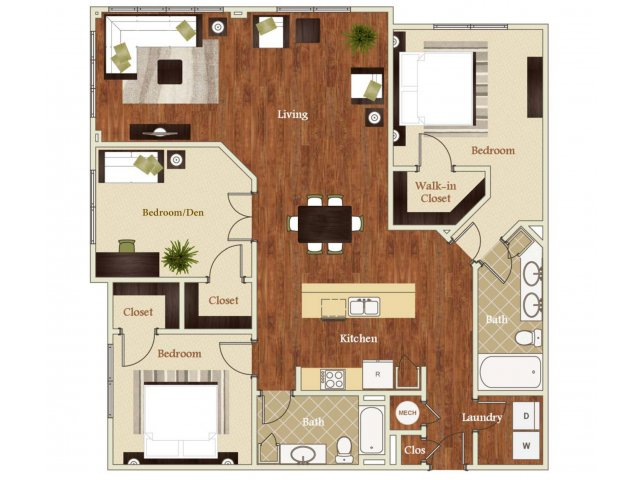 3 Bedrooms 2 Bathrooms Apartment for rent at Lofts at Weston Lakeside in Cary, NC