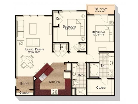 2 Bedrooms 2 Bathrooms Apartment for rent at Southpoint Village in Durham, NC