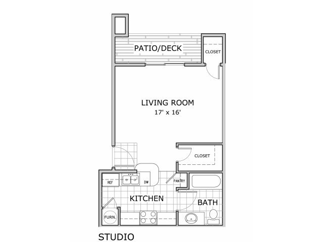 Studio 1 Bathroom Apartment for rent at Battlefield Park Apartments in Springfield, MO