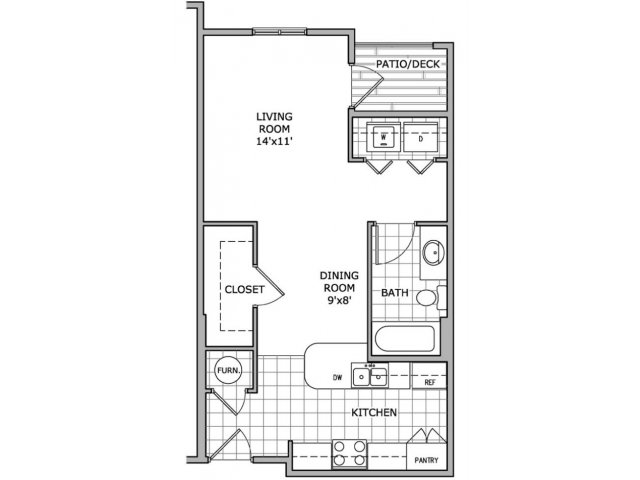 Studio 1 Bathroom Apartment for rent at Coryell Courts Apartments in Springfield, MO
