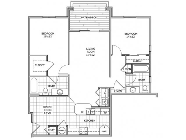2 Bedrooms 2 Bathrooms Apartment for rent at Coryell Courts Apartments in Springfield, MO