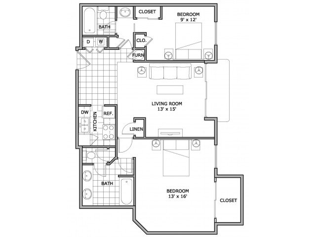 2 Bedrooms 2 Bathrooms Apartment for rent at The Abbey Apartments in Springfield, MO