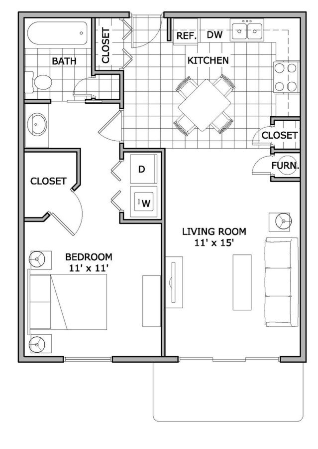 1 Bedroom 1 Bathroom Apartment for rent at The Abbey Apartments in Springfield, MO
