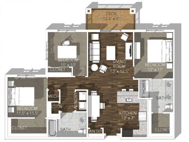 3 Bedrooms 2 Bathrooms Apartment for rent at Veranda Vistas in Springfield, MO