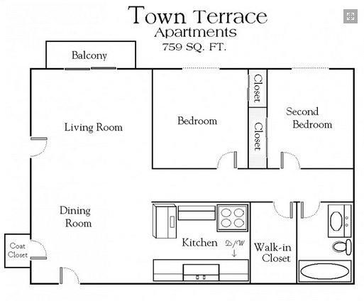 2 Bedrooms 1 Bathroom Apartment for rent at Town Terrace Apartments in Hopkins, MN