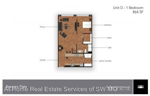1 Bedroom 1 Bathroom Apartment for rent at Brewery District Flats in Springfield, MO