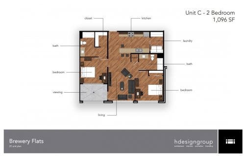 2 Bedrooms 2 Bathrooms Apartment for rent at Brewery District Flats in Springfield, MO