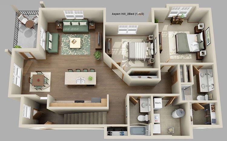 2 Bedrooms 2 Bathrooms Apartment for rent at Aspen Hill Apartments in Verona, WI