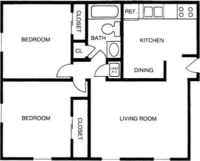 2 Bedrooms 1 Bathroom Apartment for rent at Princeton Villas in Durham , NC