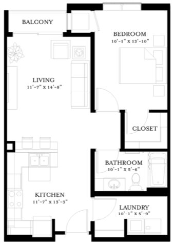 1 Bedroom 1 Bathroom Apartment for rent at The Paxon  in Minneapolis, MN
