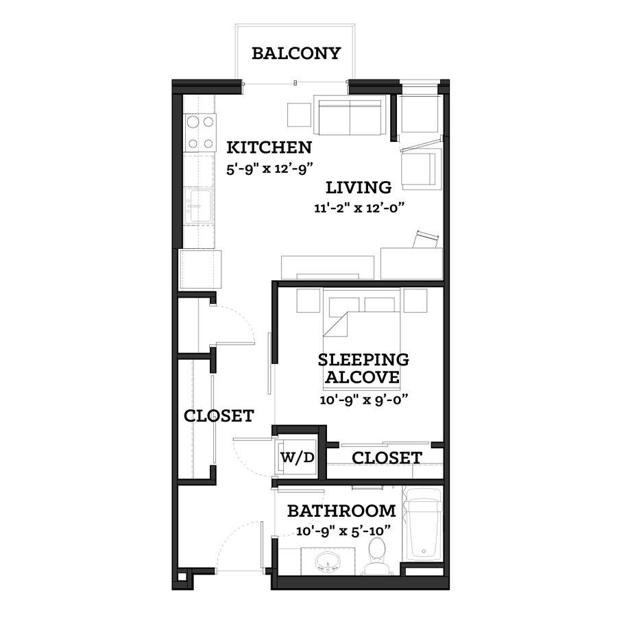Studio 1 Bathroom Apartment for rent at The Paxon  in Minneapolis, MN