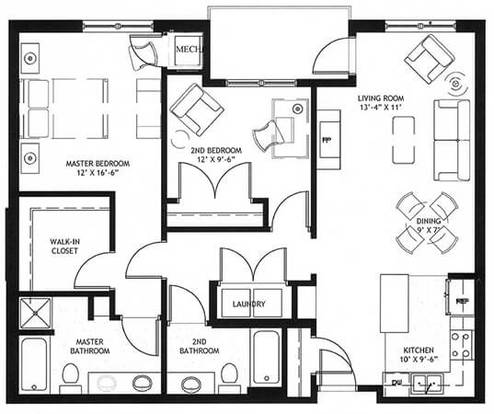 2 Bedrooms 2 Bathrooms Apartment for rent at Emerson Hill in St Paul, MN