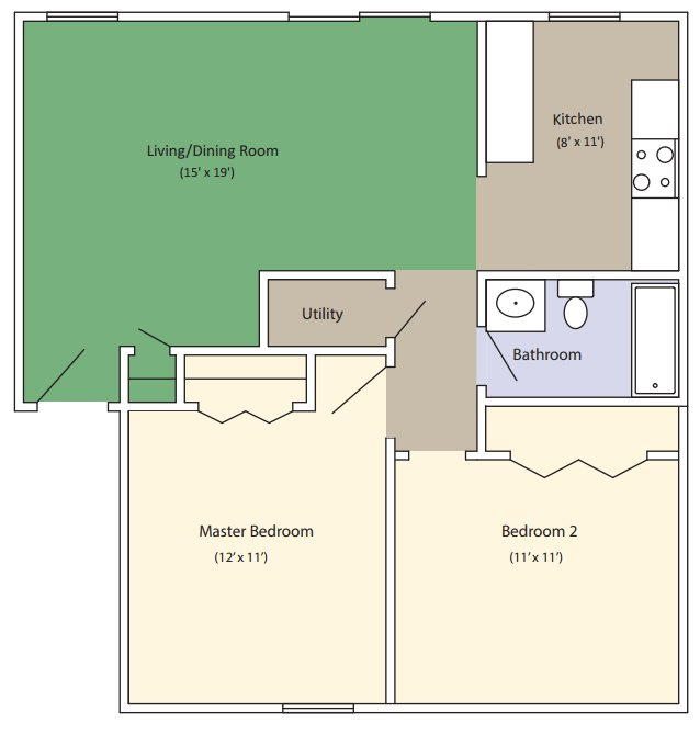 2 Bedrooms 1 Bathroom Apartment for rent at Kitty Hawk Apartments in Columbia, MO