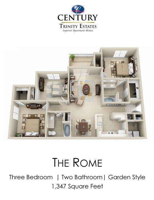 3 Bedrooms 2 Bathrooms Apartment for rent at Century Trinity Estates in Durham, NC