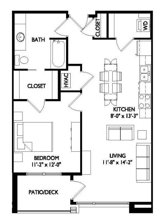 1 Bedroom 1 Bathroom Apartment for rent at Vélo 404 in Madison, WI