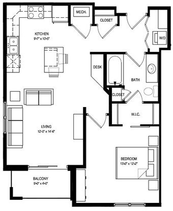 1 Bedroom 1 Bathroom Apartment for rent at Livingston Place in Madison, WI