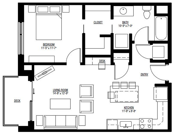 Studio 1 Bathroom Apartment for rent at University Row in Madison, WI