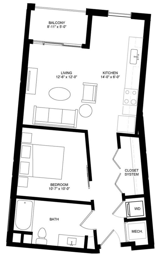 Studio 1 Bathroom Apartment for rent at University Crossing in Madison, WI