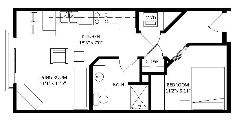 Studio 1 Bathroom Apartment for rent at Aventine in Madison, WI