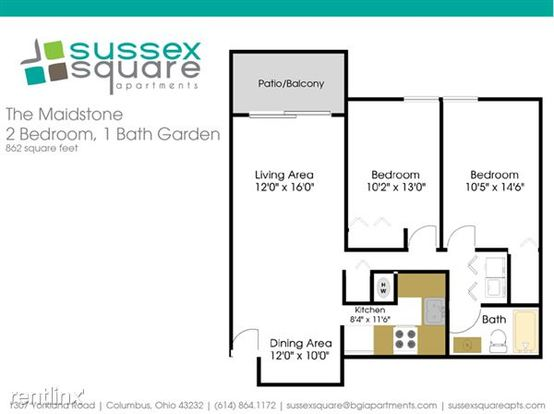 2 Bedrooms 1 Bathroom Apartment for rent at Sussex Square in Columbus, OH