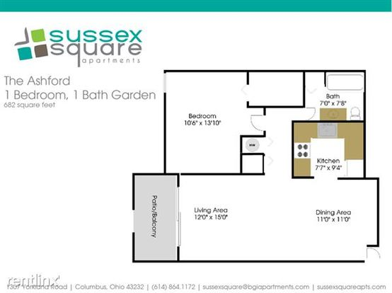1 Bedroom 1 Bathroom Apartment for rent at Sussex Square in Columbus, OH