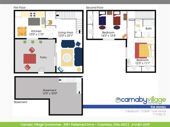 2 Bedrooms 1 Bathroom Apartment for rent at Carnaby Village Apartments in Columbus, OH