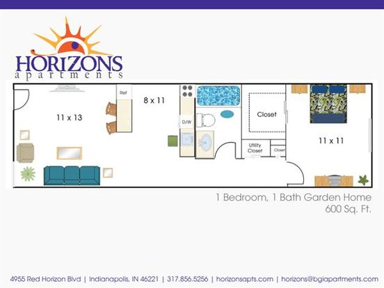 1 Bedroom 1 Bathroom Apartment for rent at Horizons in Indianapolis, IN