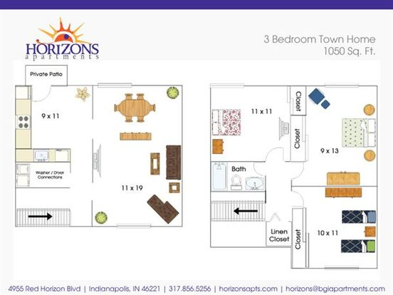 3 Bedrooms 1 Bathroom Apartment for rent at Horizons in Indianapolis, IN