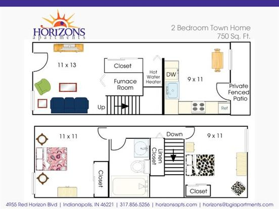 2 Bedrooms 1 Bathroom Apartment for rent at Horizons in Indianapolis, IN