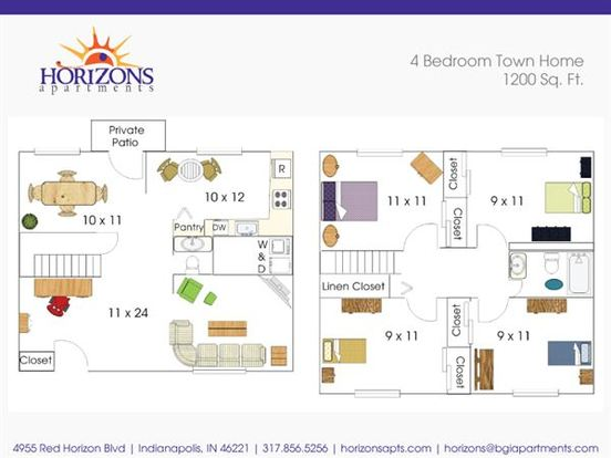 4 Bedrooms 1 Bathroom Apartment for rent at Horizons in Indianapolis, IN