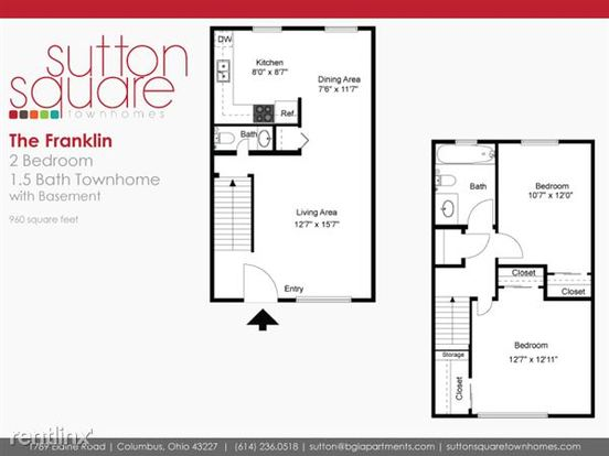 2 Bedrooms 1 Bathroom Apartment for rent at Sutton Square in Columbus, OH