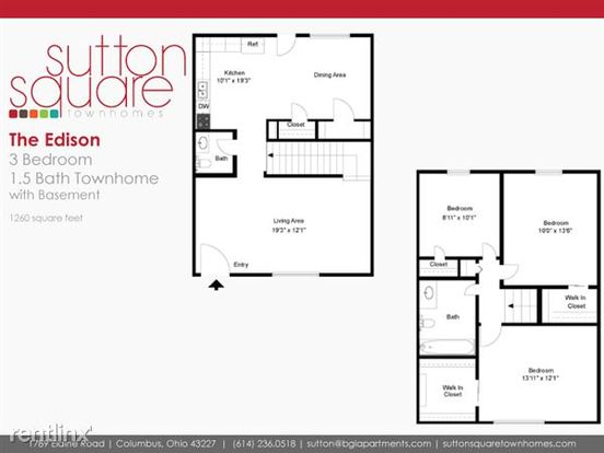 3 Bedrooms 1 Bathroom Apartment for rent at Sutton Square in Columbus, OH