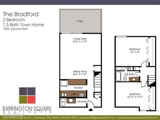 2 Bedrooms 1 Bathroom Apartment for rent at Barrington Square Apartments in Columbus, OH