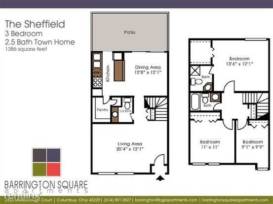 3 Bedrooms 2 Bathrooms Apartment for rent at Barrington Square Apartments in Columbus, OH