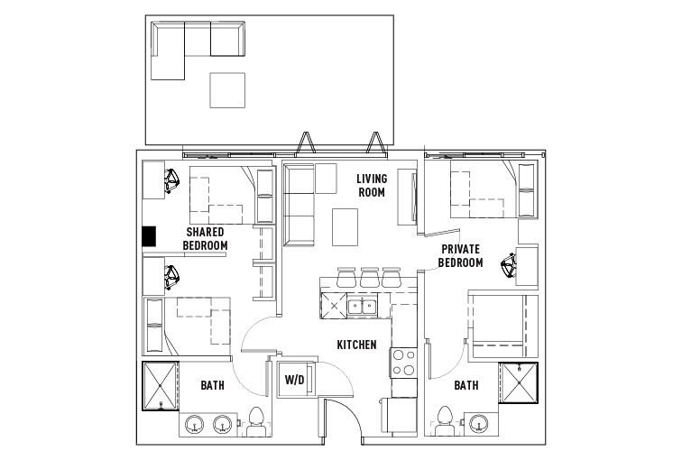 2 Bedrooms 2 Bathrooms Apartment for rent at The James in Madison, WI