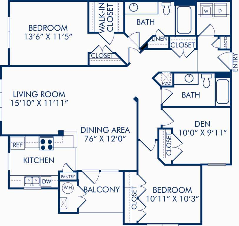 3 Bedrooms 2 Bathrooms Apartment for rent at Camden Fallsgrove in Rockville, MD