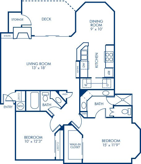 2 Bedrooms 2 Bathrooms Apartment for rent at Camden Gaines Ranch in Austin, TX