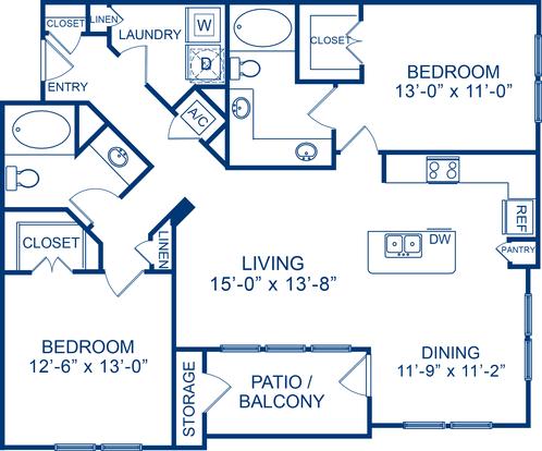 2 Bedrooms 2 Bathrooms Apartment for rent at Camden Cedar Hills in Austin, TX