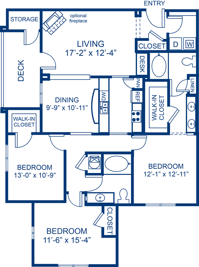 3 Bedrooms 2 Bathrooms Apartment for rent at Camden Crest in Raleigh, NC