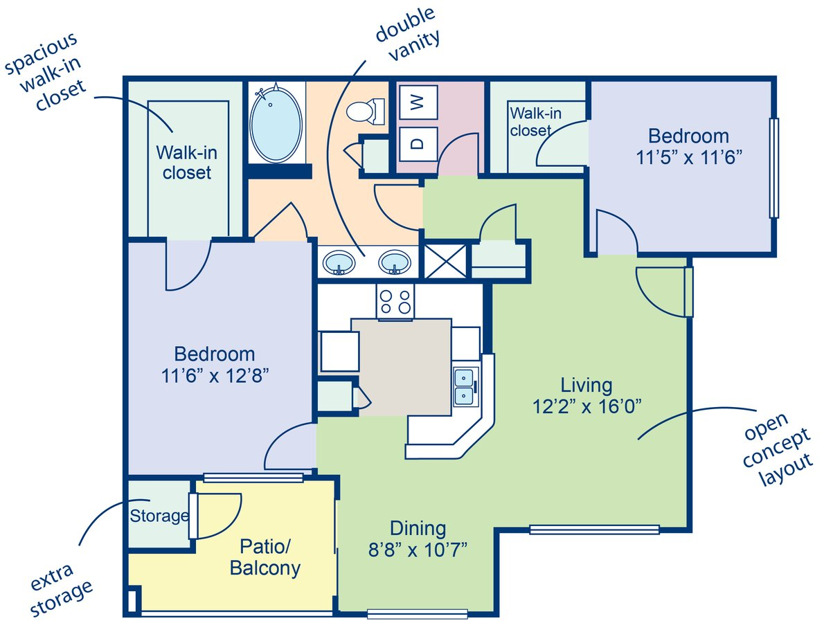 2 Bedrooms 1 Bathroom Apartment for rent at Camden Pecos Ranch in Chandler, AZ