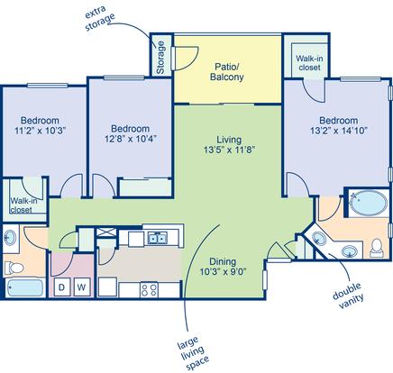 3 Bedrooms 2 Bathrooms Apartment for rent at Camden Pecos Ranch in Chandler, AZ