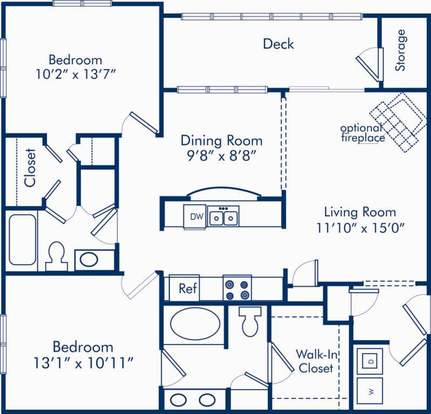 2 Bedrooms 2 Bathrooms Apartment for rent at Camden Westwood in Morrisville, NC
