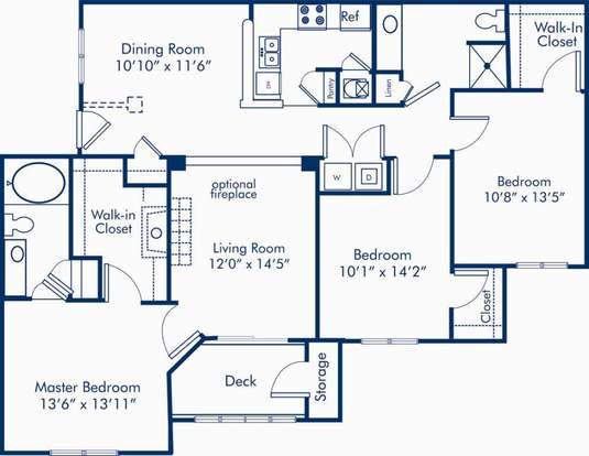 3 Bedrooms 2 Bathrooms Apartment for rent at Camden Westwood in Morrisville, NC