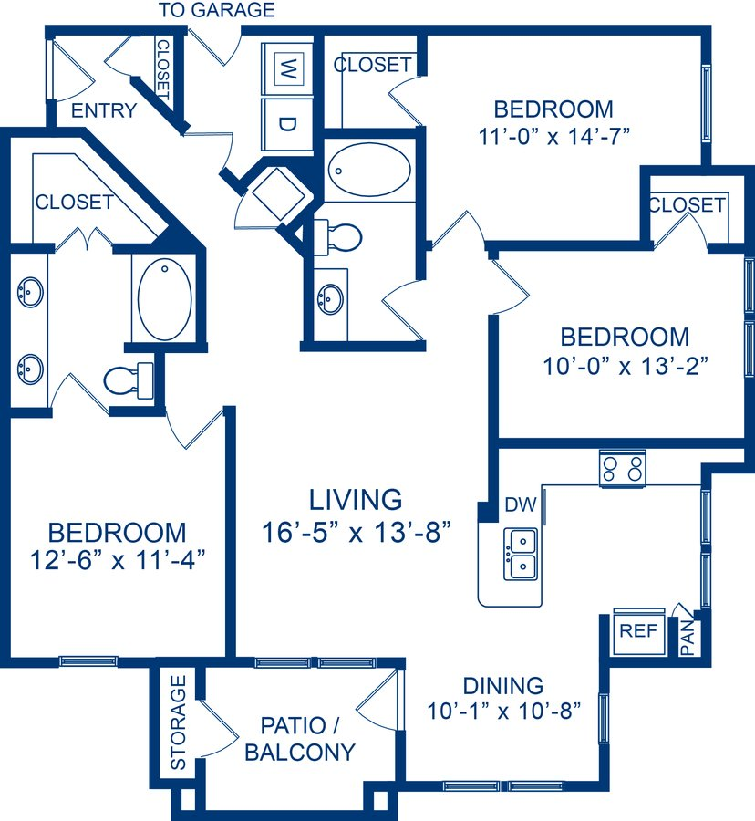 3 Bedrooms 2 Bathrooms Apartment for rent at Camden Whispering Oaks in Houston, TX